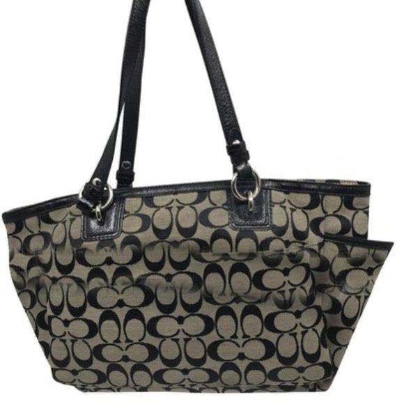 Coach Handbags - Coach Black Gray Medium Fabric Shoppers Tote Bag
